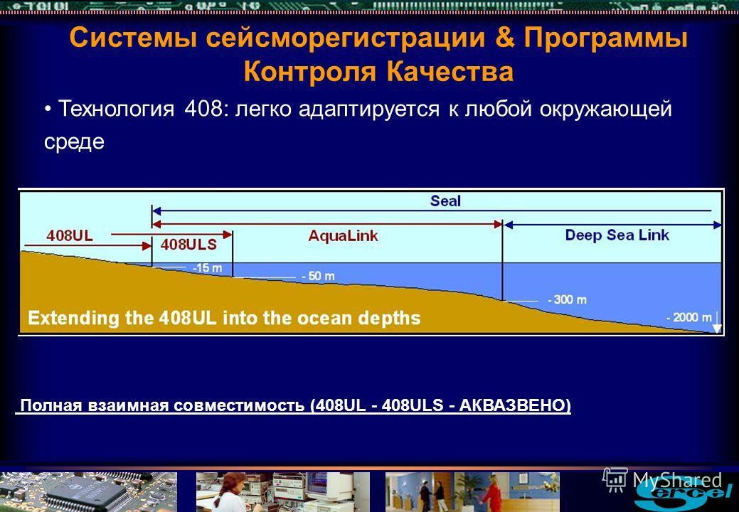 Технология 408: легко адаптируется к любой окружающей среде Полная взаимная совместимость (408UL - 408ULS - АКВАЗВЕНО) Системы сейсморегистрации & Программы Контроля Качества