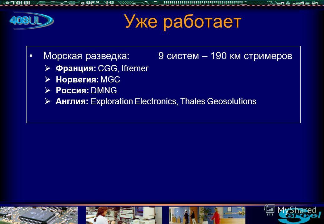 Морская разведка: 9 систем – 190 км стримеров Франция: CGG, Ifremer Норвегия: MGC Россия: DMNG Англия: Exploration Electronics, Thales Geosolutions Уже работает