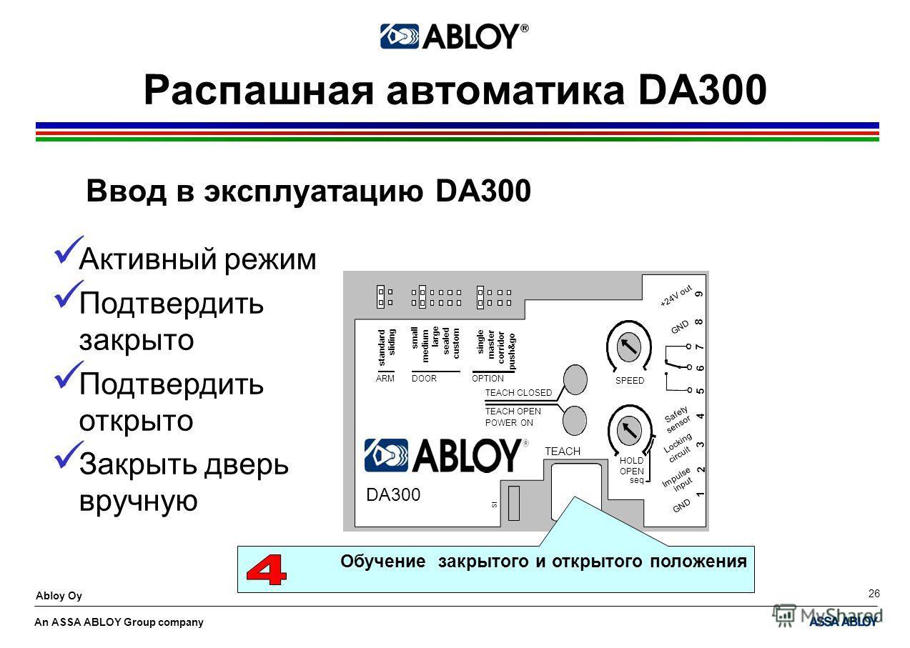 An ASSA ABLOY Group company Abloy Oy 26 Распашная автоматика DA300 Ввод в эксплуатацию DA300 Обучение закрытого и открытого положения Активный режим Подтвердить закрыто Подтвердить открыто Закрыть дверь вручную