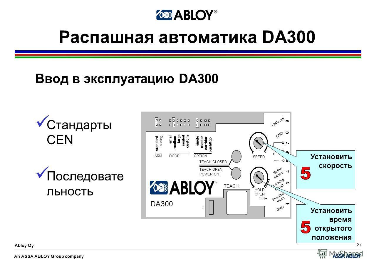 An ASSA ABLOY Group company Abloy Oy 27 Распашная автоматика DA300 Ввод в эксплуатацию DA300 Установить время открытого положения Стандарты CEN Последовате льность Установить скорость
