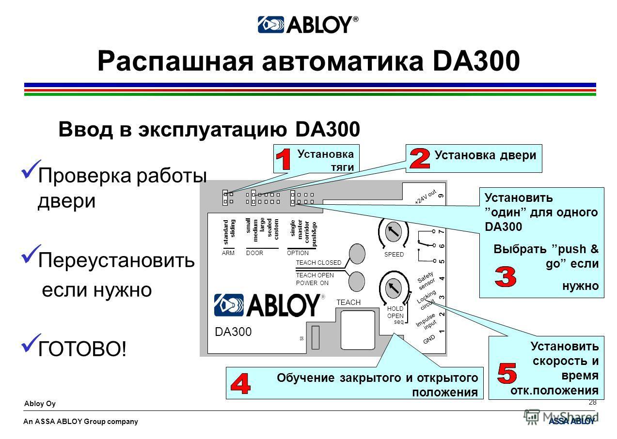 An ASSA ABLOY Group company Abloy Oy 28 Распашная автоматика DA300 Ввод в эксплуатацию DA300 Установка тяги Установка двериУстановитьодин для одного DA300 Выбрать push & go если нужно Установить скорость и время отк.положения Обучение закрытого и отк