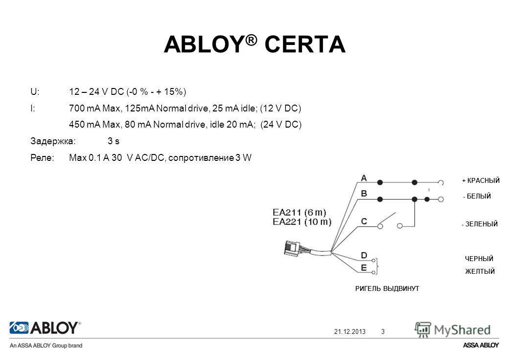 21.12.20133 ABLOY ® CERTA + КРАСНЫЙ - БЕЛЫЙ - ЗЕЛЕНЫЙ ЧЕРНЫЙ ЖЕЛТЫЙ РИГЕЛЬ ВЫДВИНУТ U:12 – 24 V DC (-0 % - + 15%) I: 700 mA Max, 125mA Normal drive, 25 mA idle; (12 V DC) 450 mA Max, 80 mA Normal drive, idle 20 mA; (24 V DC) Задержка:3 s Реле: Max 0.