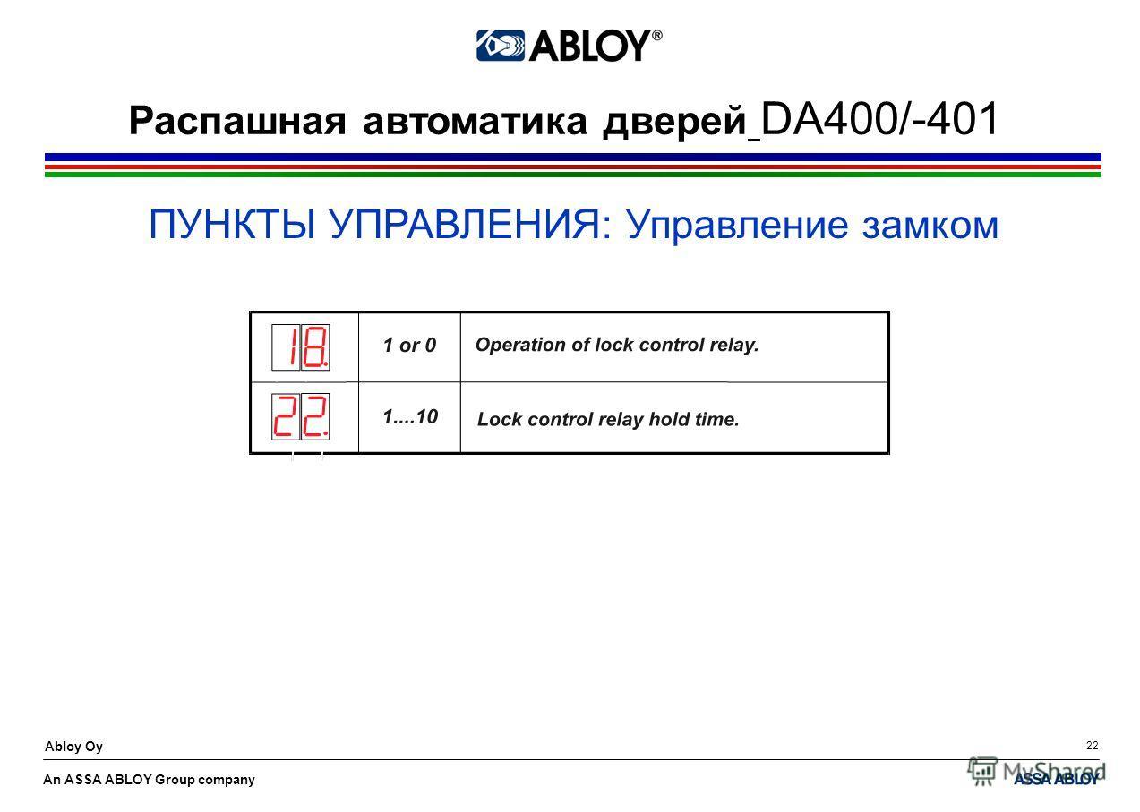 An ASSA ABLOY Group company Abloy Oy 22 ПУНКТЫ УПРАВЛЕНИЯ: Управление замком Распашная автоматика дверей DA400/-401
