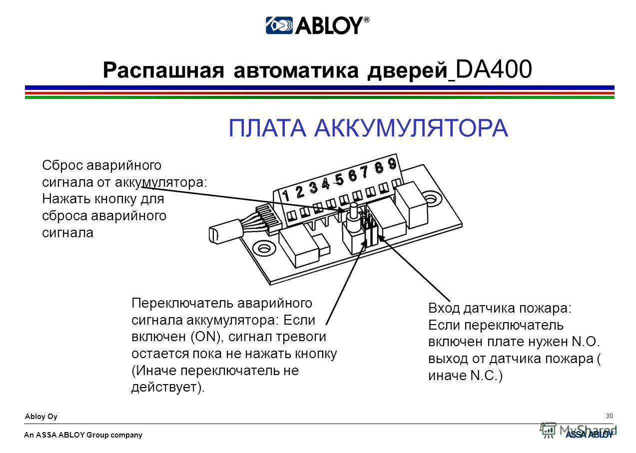An ASSA ABLOY Group company Abloy Oy 30 ПЛАТА АККУМУЛЯТОРА Распашная автоматика дверей DA400 Сброс аварийного сигнала от аккумулятора: Нажать кнопку для сброса аварийного сигнала Переключатель аварийного сигнала аккумулятора: Если включен (ON), сигна