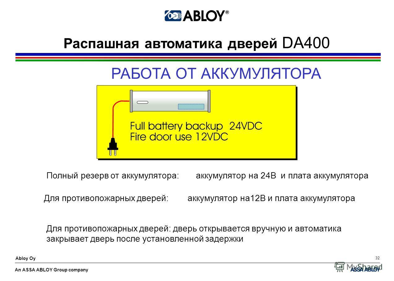 An ASSA ABLOY Group company Abloy Oy 32 РАБОТА ОТ АККУМУЛЯТОРА Полный резерв от аккумулятора: аккумулятор на 24В и плата аккумулятора Распашная автоматика дверей DA400 Для противопожарных дверей: аккумулятор на12В и плата аккумулятора Для противопожа