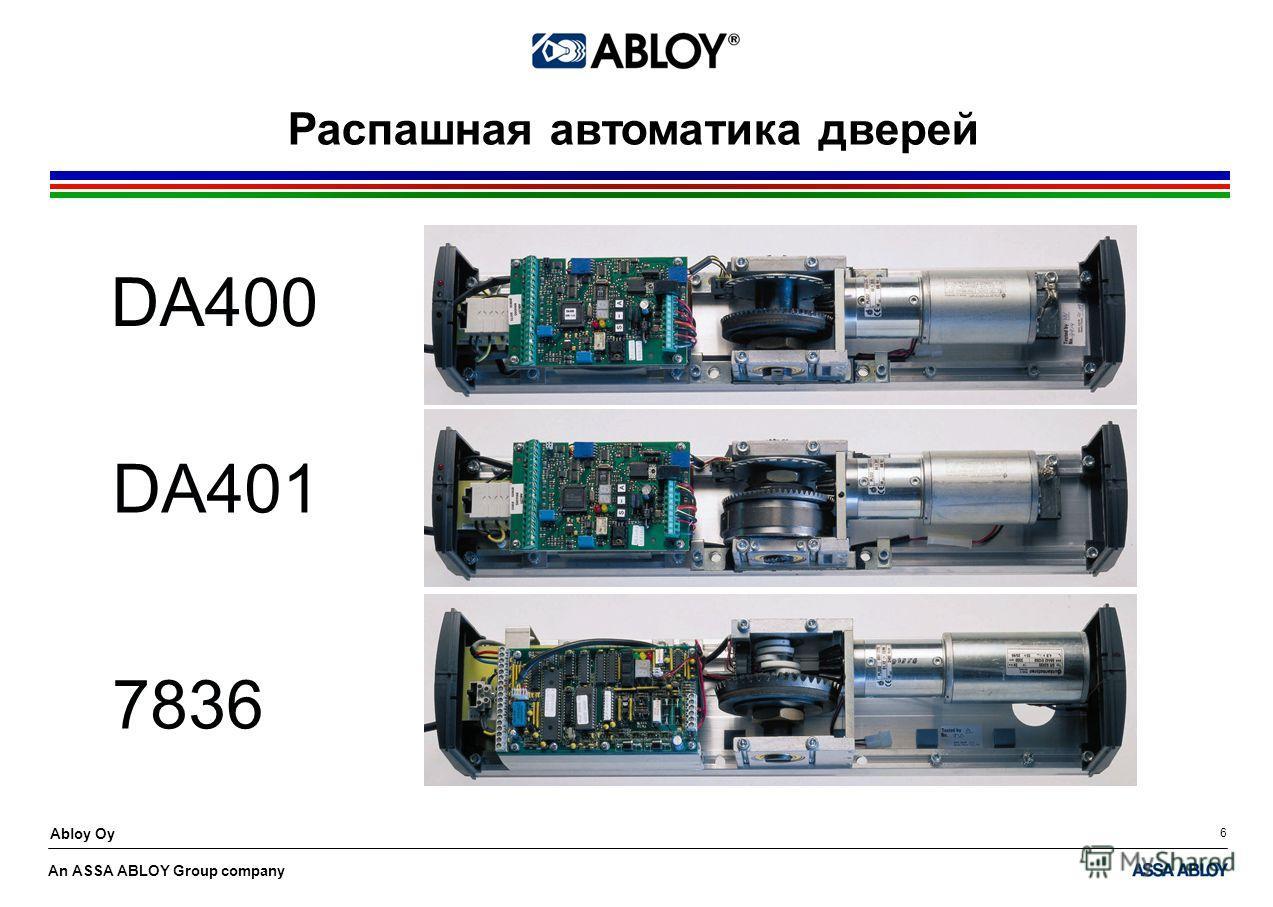 An ASSA ABLOY Group company Abloy Oy 6 Распашная автоматика дверей DA400 DA401 7836