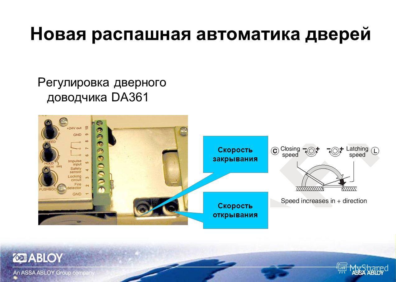 Новая распашная автоматика дверей Регулировка дверного доводчика DA361 Скорость закрывания Скорость открывания