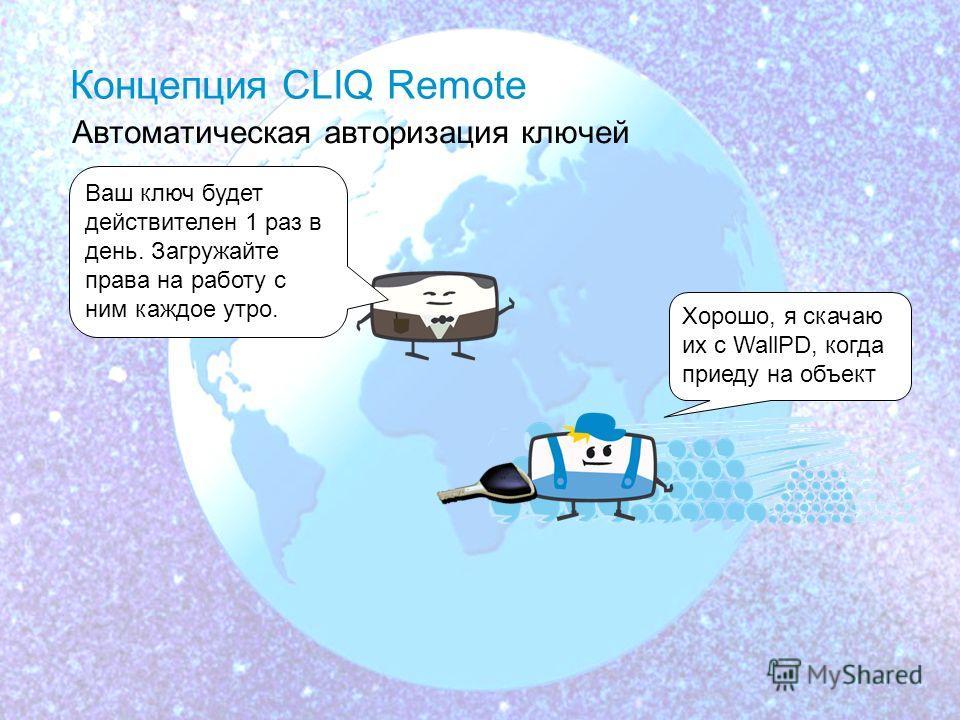 11.02.104 Концепция CLIQ Remote Удаленная авторизация Клапан бензопровода необходимо немедленно отремонтировать. Я вышлю Вам права доступа к замкам. Хорошо, закачаю из с ближайшего WallPD Информация об обновлении прав на ключи отправляется по эл. поч