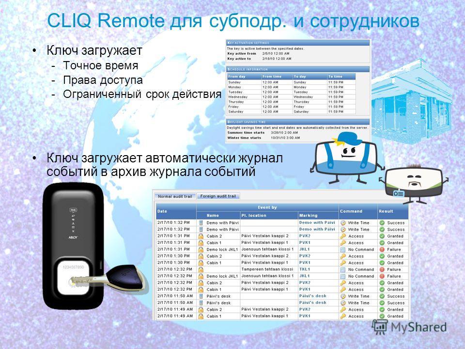 11.02.108 Администрирование CLIQ Remote Рассылки ПО CLIQ Web Manager -Точное время для ключа -Активизация ключей -Составление графиков пользования ключами -Сбор журналов событий с ключей