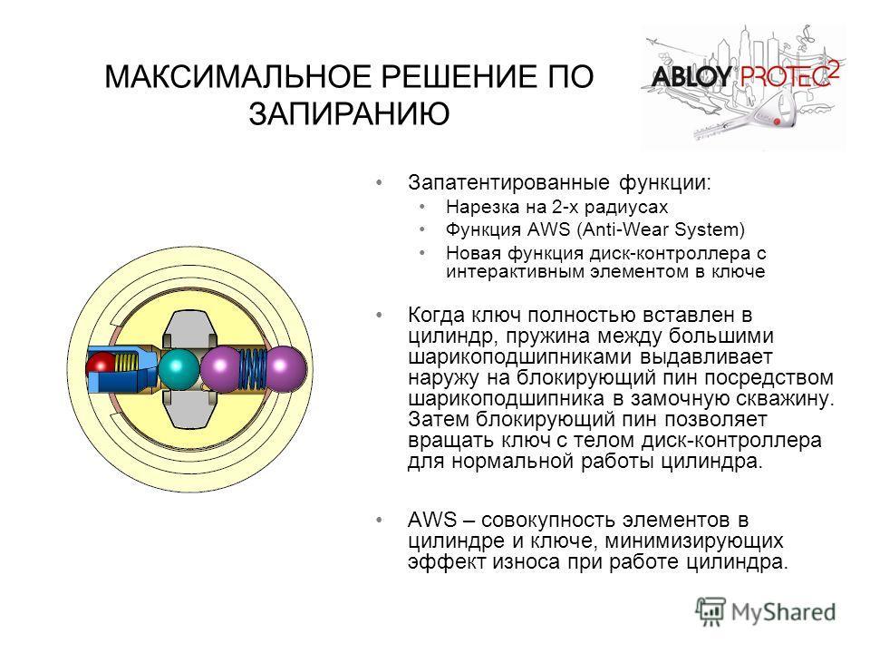 Запатентированные функции: Нарезка на 2-х радиусах Функция AWS (Anti-Wear System) Новая функция диск-контроллера с интерактивным элементом в ключе Когда ключ полностью вставлен в цилиндр, пружина между большими шарикоподшипниками выдавливает наружу н