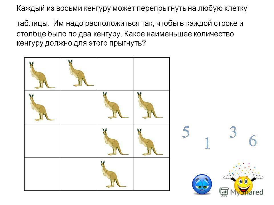 Каждый из восьми кенгуру может перепрыгнуть на любую клетку таблицы. Им надо расположиться так, чтобы в каждой строке и столбце было по два кенгуру. Какое наименьшее количество кенгуру должно для этого прыгнуть?
