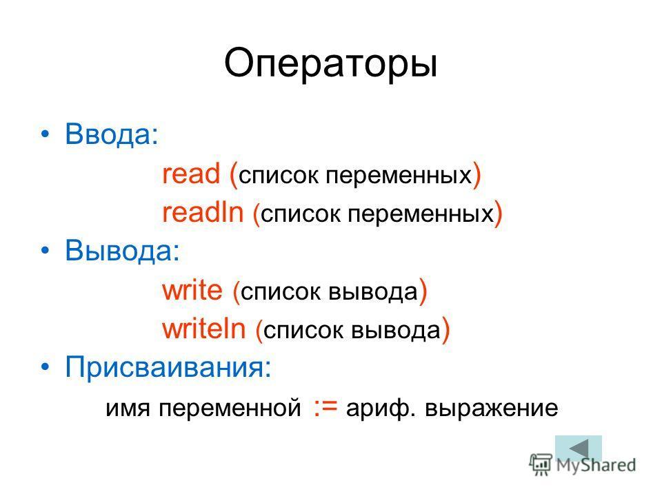Операторы Ввода: read ( список переменных ) readln (список переменных ) Вывода: write (список вывода ) writeln (список вывода ) Присваивания: имя переменной := ариф. выражение