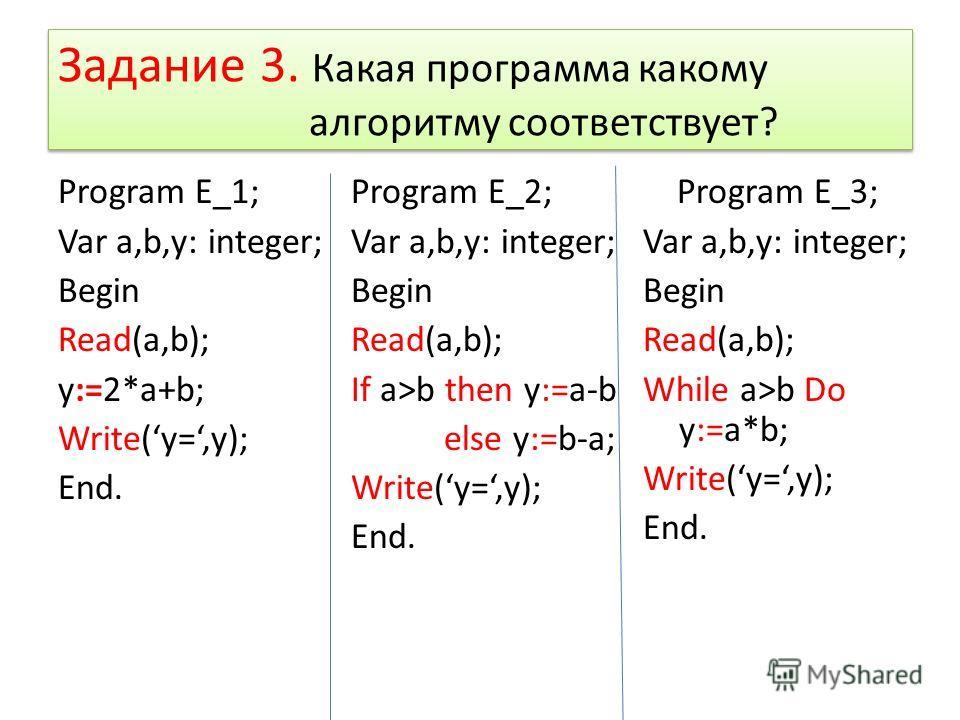 Задание 3. Какая программа какому алгоритму соответствует? Program E_1; Var a,b,y: integer; Begin Read(a,b); y:=2*a+b; Write(y=,y); End. Program E_2; Var a,b,y: integer; Begin Read(a,b); If a>b then y:=a-b else y:=b-a; Write(y=,y); End. Program E_3;