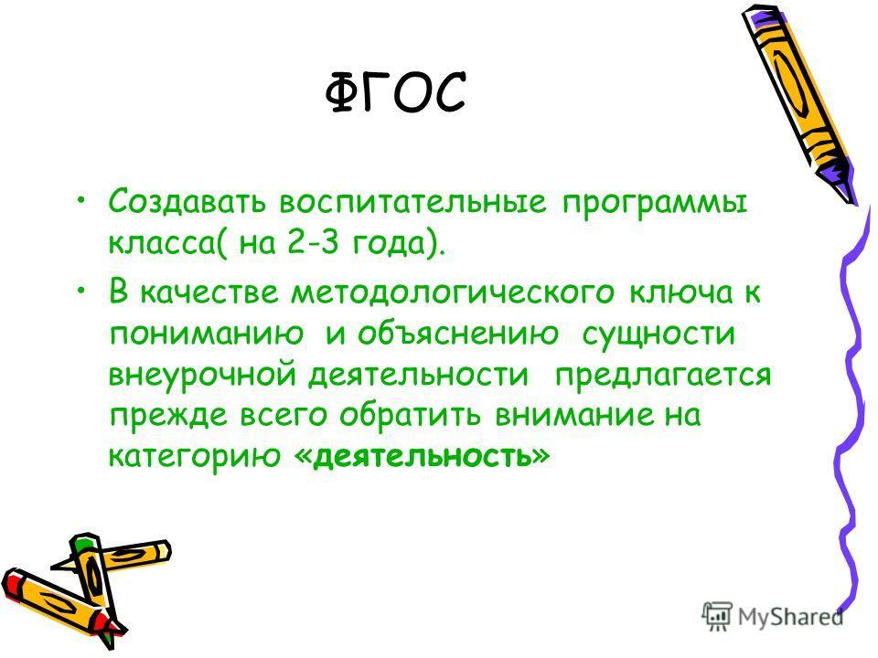 ФГОС Создавать воспитательные программы класса( на 2-3 года). В качестве методологического ключа к пониманию и объяснению сущности внеурочной деятельности предлагается прежде всего обратить внимание на категорию «деятельность»