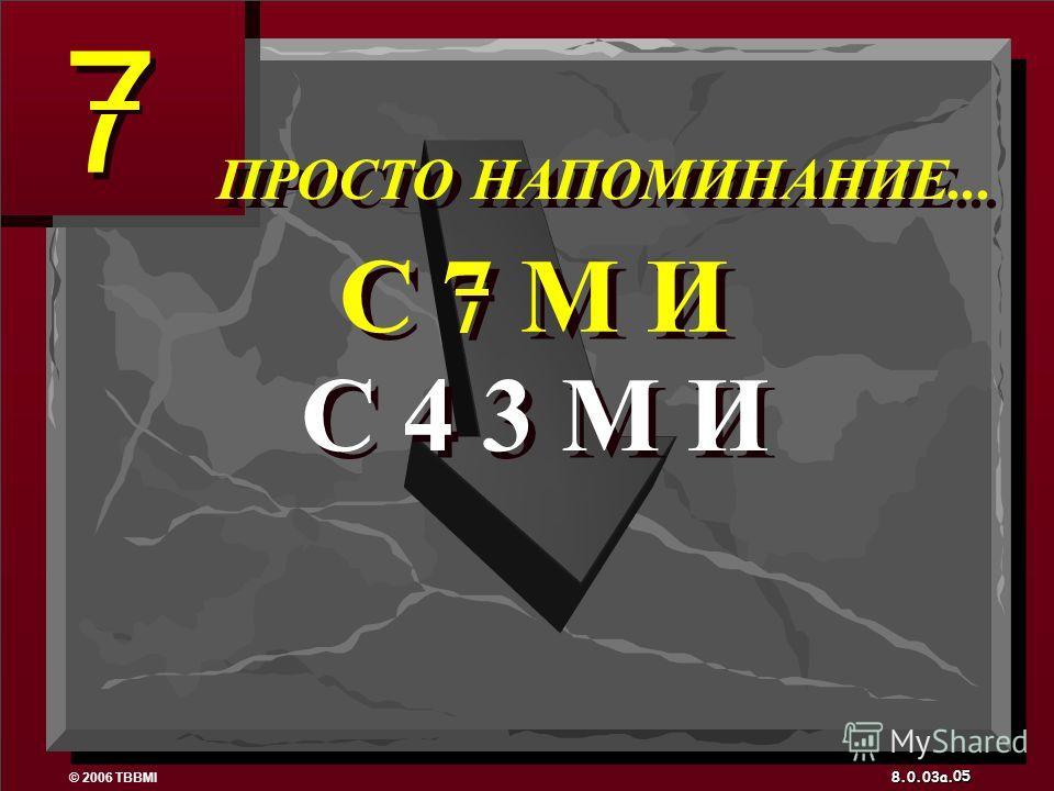 © 2006 TBBMI 8.0.03a. 7 7 05 C 4 3 М И C 7 М И ПРОСТО НАПОМИНАНИЕ...