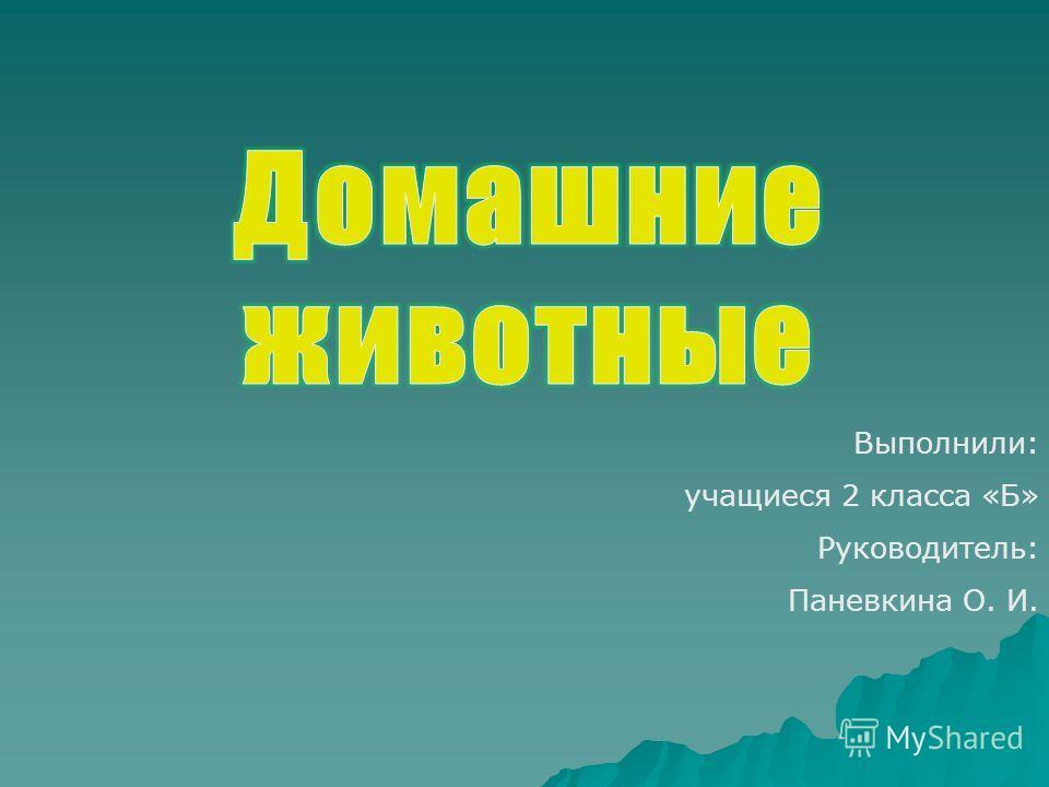 Выполнили: учащиеся 2 класса «Б» Руководитель: Паневкина О. И.