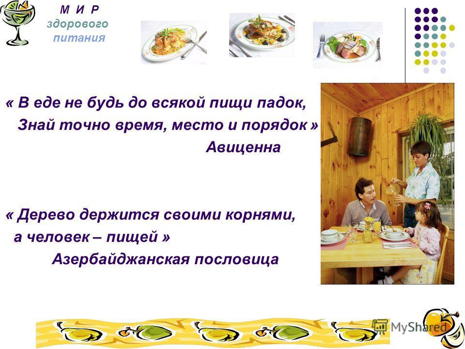 « В еде не будь до всякой пищи падок, Знай точно время, место и порядок » Авиценна « Дерево держится своими корнями, а человек – пищей » Азербайджанская пословица М И Р здорового питания