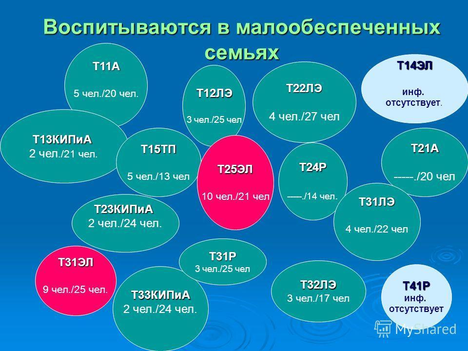 Воспитываются в малообеспеченных семьях Т11А 5 чел./20 чел. Т31ЭЛ 9 чел./25 чел. Т13КИПиА 2 чел./21 чел. Т14ЭЛ инф. отсутствует. Т23КИПиА 2 чел./24 чел. Т33КИПиА Т12ЛЭ 3 чел./25 чел Т15ТП 5 чел./13 чел Т31Р 3 чел./25 чел Т24Р -----./14 чел. Т21А ----
