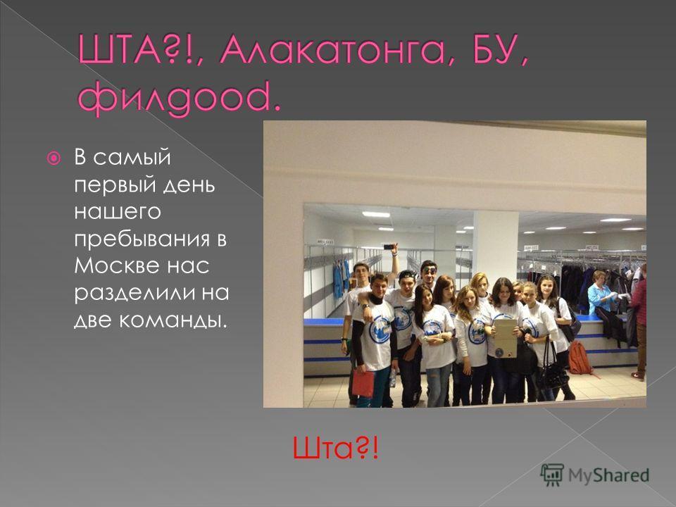 В самый первый день нашего пребывания в Москве нас разделили на две команды. Шта?!