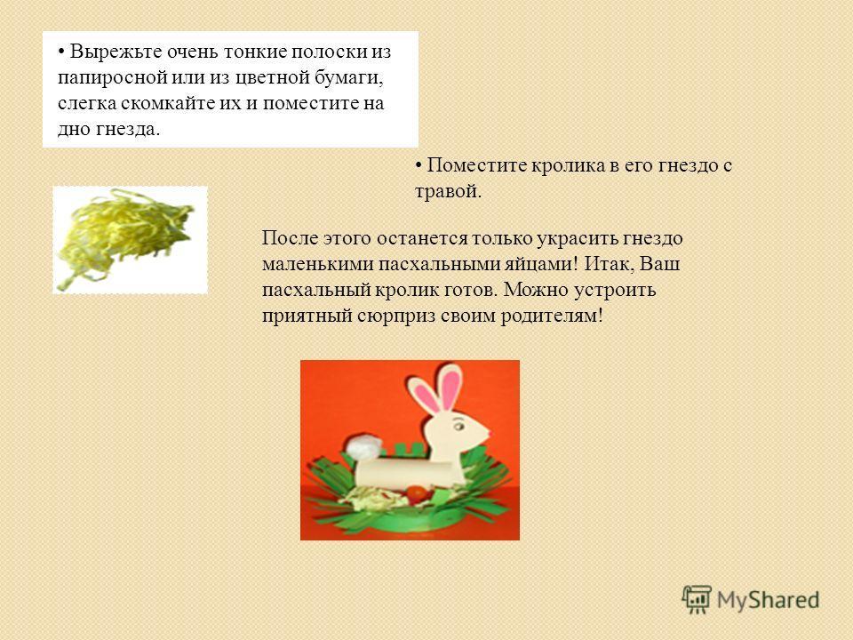 Вырежьте очень тонкие полоски из папиросной или из цветной бумаги, слегка скомкайте их и поместите на дно гнезда. После этого останется только украсить гнездо маленькими пасхальными яйцами! Итак, Ваш пасхальный кролик готов. Можно устроить приятный с
