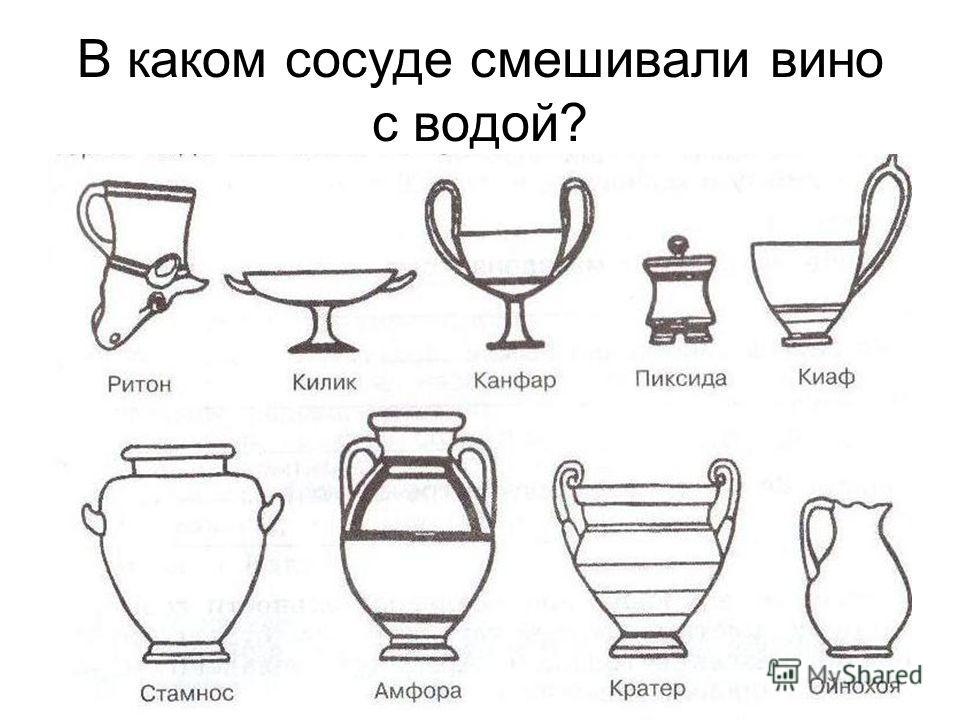 В каком сосуде смешивали вино с водой?