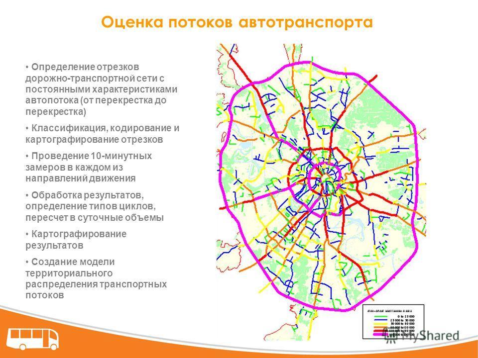 Оценка потоков автотранспорта Определение отрезков дорожно-транспортной сети с постоянными характеристиками автопотока (от перекрестка до перекрестка) Классификация, кодирование и картографирование отрезков Проведение 10-минутных замеров в каждом из