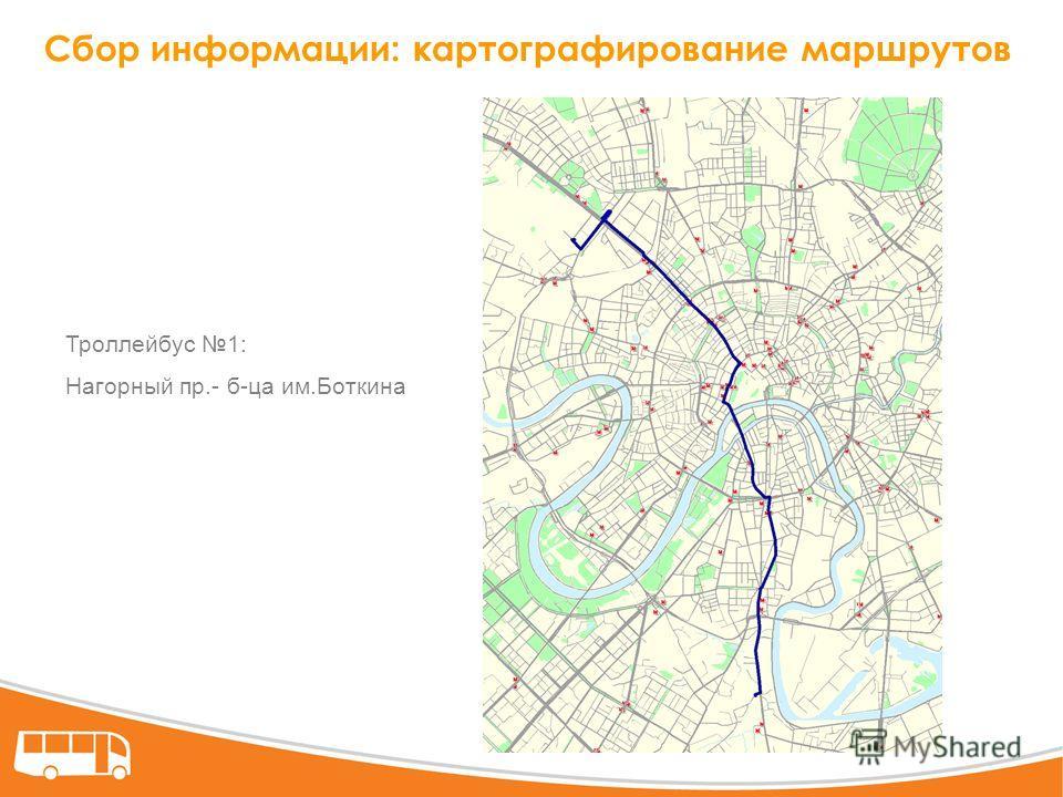 Сбор информации: картографирование маршрутов Троллейбус 1: Нагорный пр.- б-ца им.Боткина