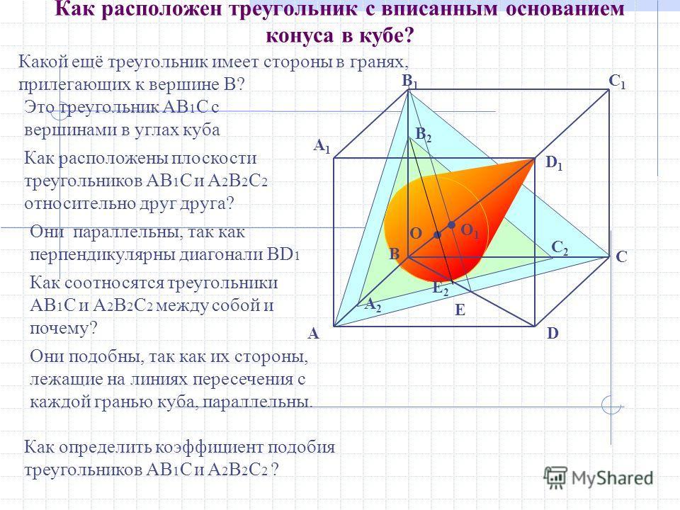 O A2A2 C2C2 E2E2 B2B2 E B D1D1 C A1A1 DA B1B1 C1C1 Как расположен треугольник с вписанным основанием конуса в кубе? Какой ещё треугольник имеет стороны в гранях, прилегающих к вершине В? Как определить коэффициент подобия треугольников AB 1 С и A 2 B
