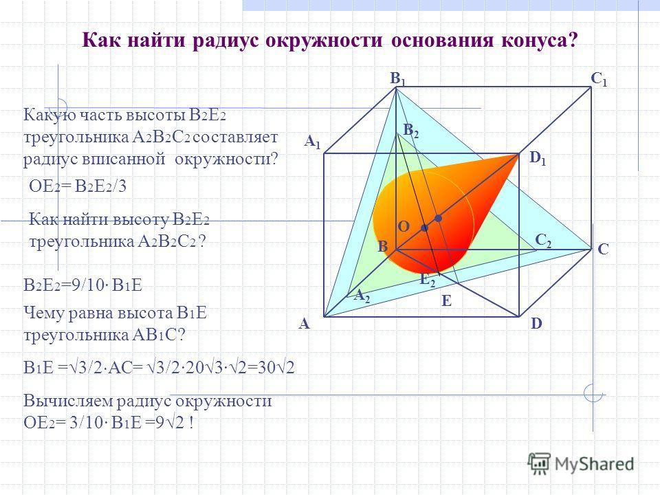 O A2A2 C2C2 E2E2 B2B2 E B D1D1 C A1A1 DA B1B1 C1C1 Как найти радиус окружности основания конуса? Как найти высоту B 2 Е 2 треугольника A 2 B 2 С 2 ? Вычисляем радиус окружности ОЕ 2 = 3/10· B 1 Е =9 2 ! Какую часть высоты B 2 Е 2 треугольника A 2 B 2