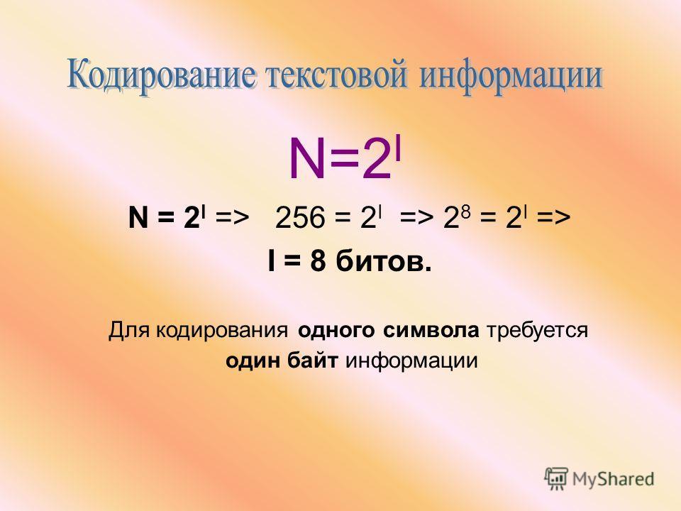 N=2 I N = 2 I => 256 = 2 I => 2 8 = 2 I => I = 8 битов. Для кодирования одного символа требуется один байт информации