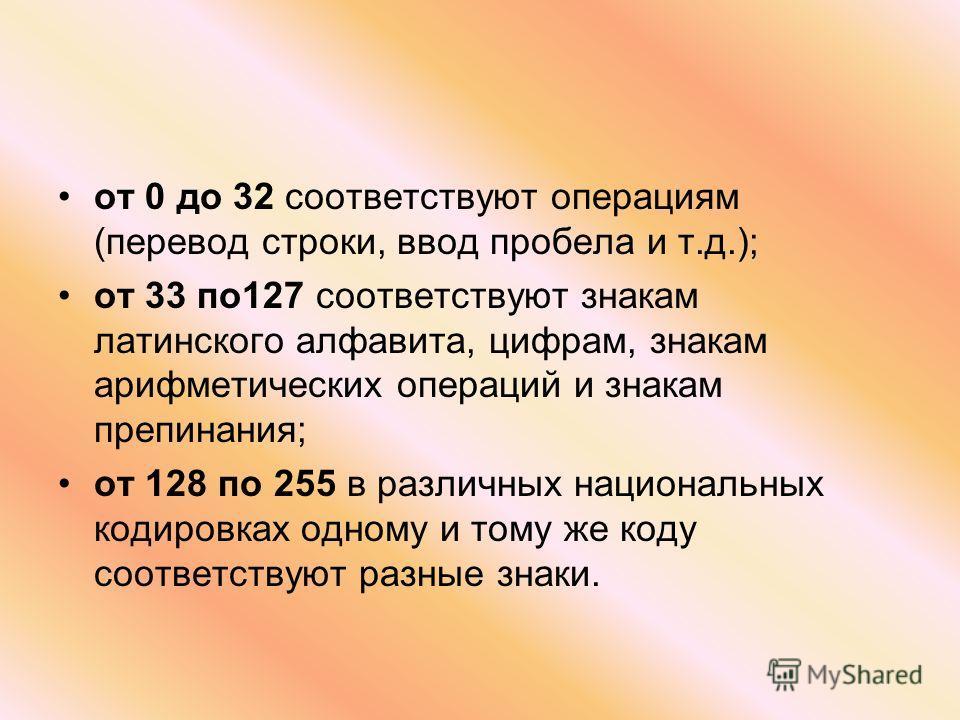 от 0 до 32 соответствуют операциям (перевод строки, ввод пробела и т.д.); от 33 по127 соответствуют знакам латинского алфавита, цифрам, знакам арифметических операций и знакам препинания; от 128 по 255 в различных национальных кодировках одному и том