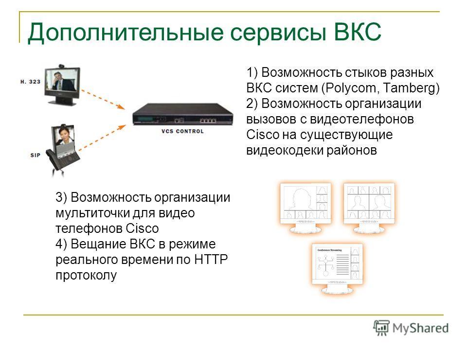 1) Возможность стыков разных ВКС систем (Polycom, Tamberg) 2) Возможность организации вызовов с видеотелефонов Cisco на существующие видеокодеки районов 3) Возможность организации мультиточки для видео телефонов Cisco 4) Вещание ВКС в режиме реальног