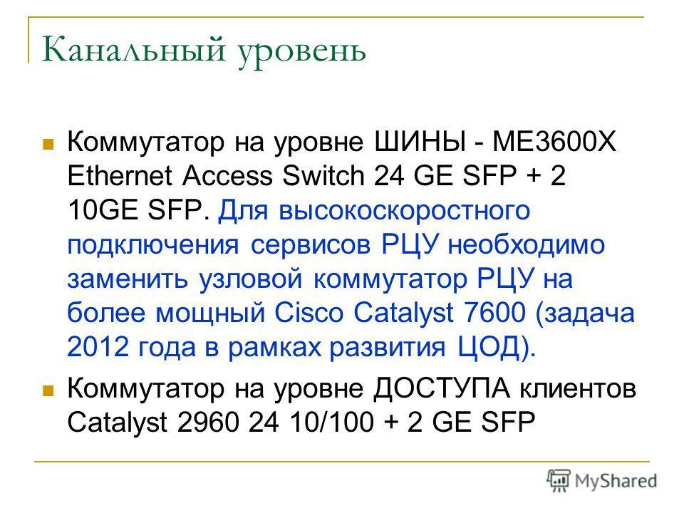 Канальный уровень Коммутатор на уровне ШИНЫ - ME3600X Ethernet Access Switch 24 GE SFP + 2 10GE SFP. Для высокоскоростного подключения сервисов РЦУ необходимо заменить узловой коммутатор РЦУ на более мощный Cisco Catalyst 7600 (задача 2012 года в рам