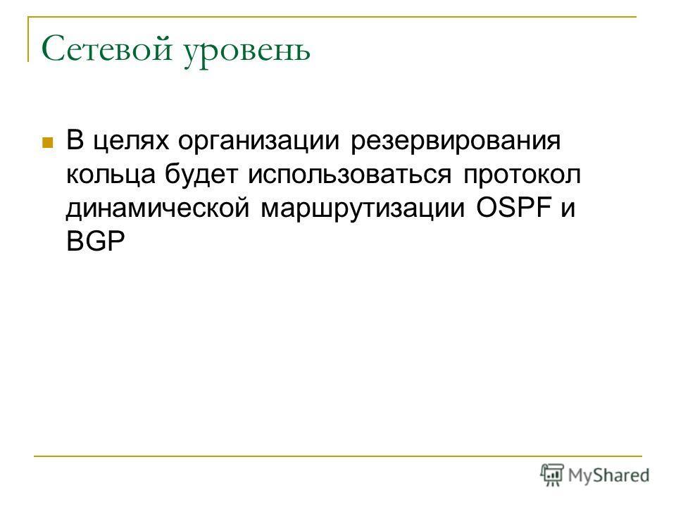 Сетевой уровень В целях организации резервирования кольца будет использоваться протокол динамической маршрутизации OSPF и BGP
