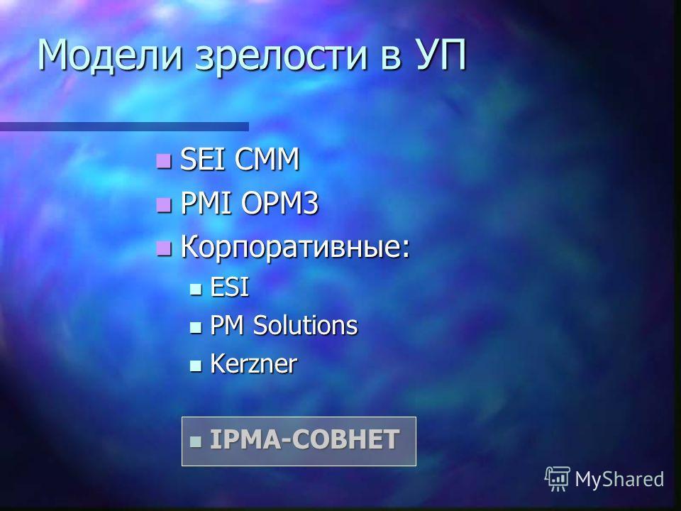 Модели зрелости в УП SEI CMM SEI CMM PMI OPM3 PMI OPM3 Корпоративные: Корпоративные: ESI ESI PM Solutions PM Solutions Kerzner Kerzner IPMA-СОВНЕТ IPMA-СОВНЕТ
