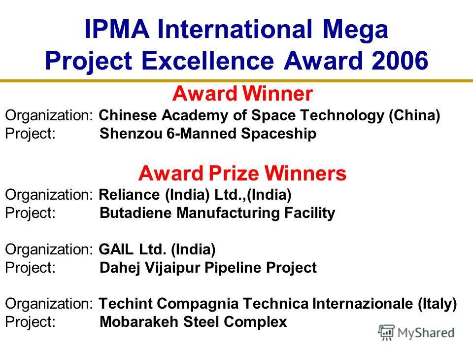IPMA International Mega Project Excellence Award 2006 Award Winner Organization: Chinese Academy of Space Technology (China) Project: Shenzou 6-Manned Spaceship Award Prize Winners Organization: Reliance (India) Ltd.,(India) Project: Butadiene Manufa