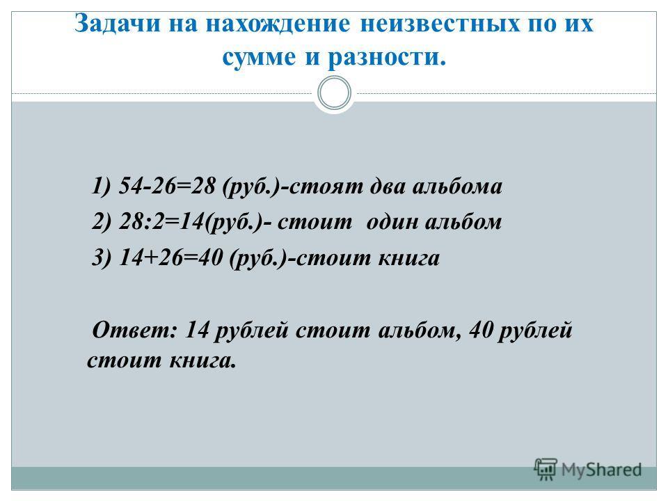 Задачи на нахождение неизвестных по их сумме и разности. 1) 54-26=28 (руб.)-стоят два альбома 2) 28:2=14(руб.)- стоит один альбом 3) 14+26=40 (руб.)-стоит книга Ответ: 14 рублей стоит альбом, 40 рублей стоит книга.
