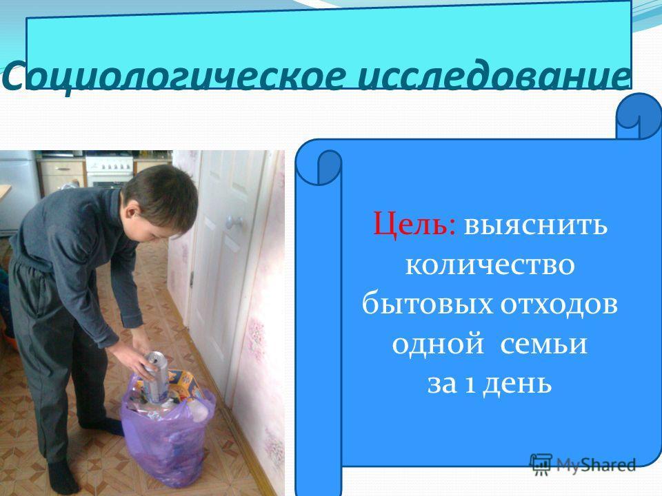 Цель: выяснить количество бытовых отходов одной семьи за 1 день Социологическое исследование