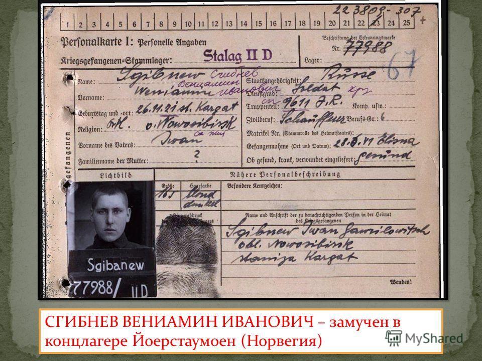 СГИБНЕВ ВЕНИАМИН ИВАНОВИЧ – замучен в концлагере Йоерстаумоен (Норвегия)