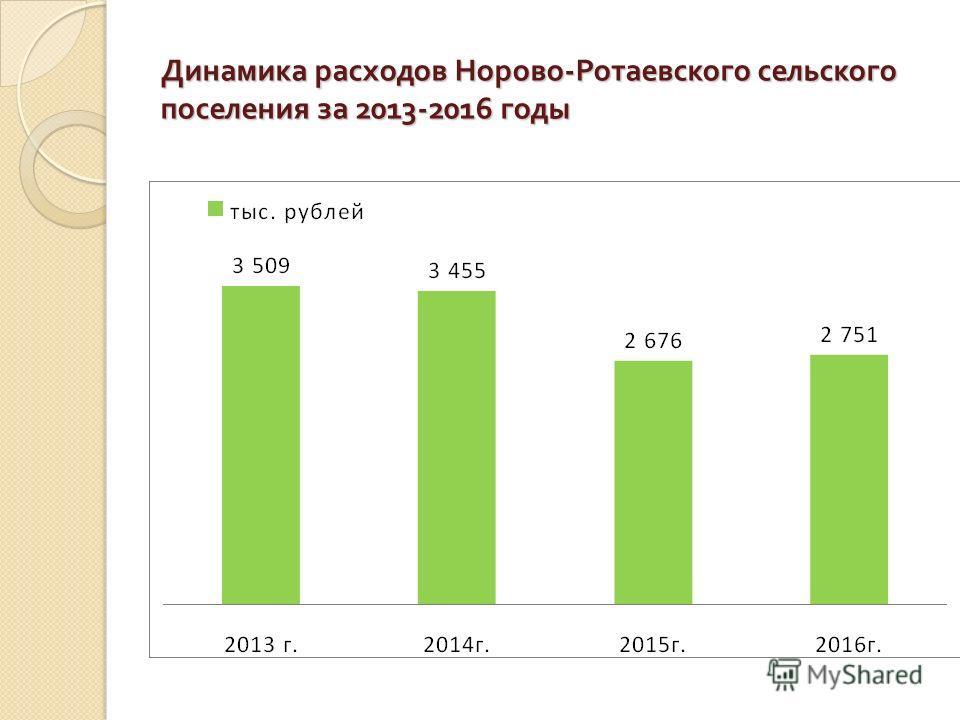 Динамика расходов Норово - Ротаевского сельского поселения за 2013-2016 годы
