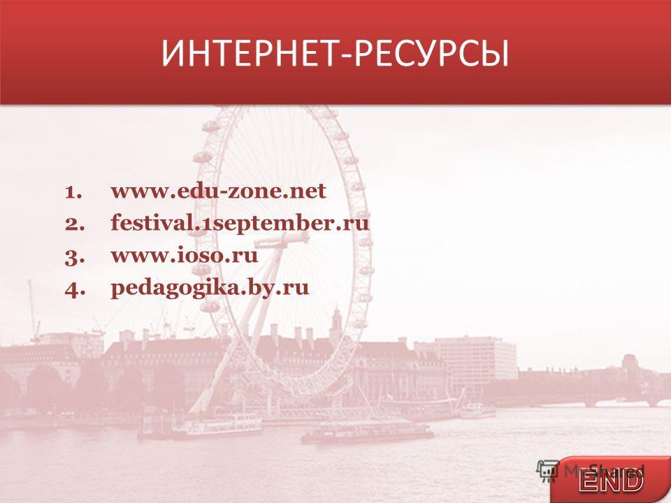 ИНТЕРНЕТ-РЕСУРСЫ 1.www.edu-zone.net 2.festival.1september.ru 3.www.ioso.ru 4.pedagogika.by.ru