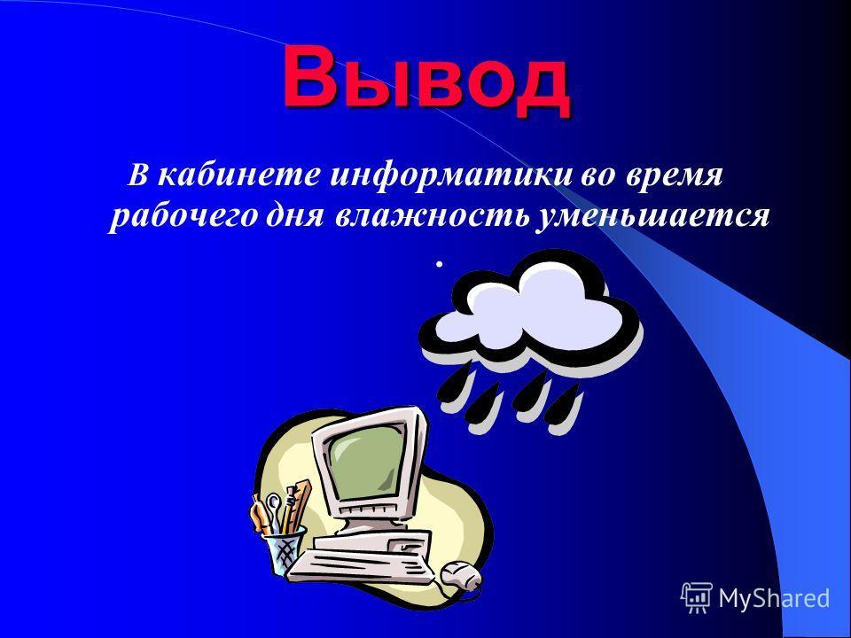 Вывод В кабинете информатики во время рабочего дня влажность уменьшается.