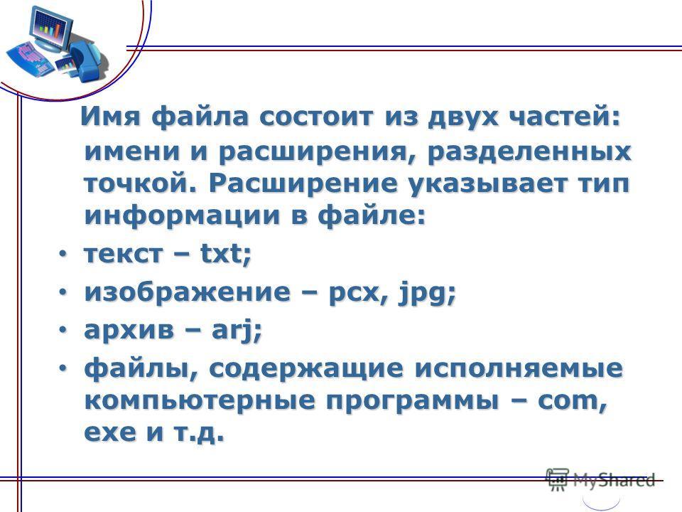 Имя файла состоит из двух частей: имени и расширения, разделенных точкой. Расширение указывает тип информации в файле: текст – txt; текст – txt; изображение – pcx, jpg; изображение – pcx, jpg; архив – arj; архив – arj; файлы, содержащие исполняемые к