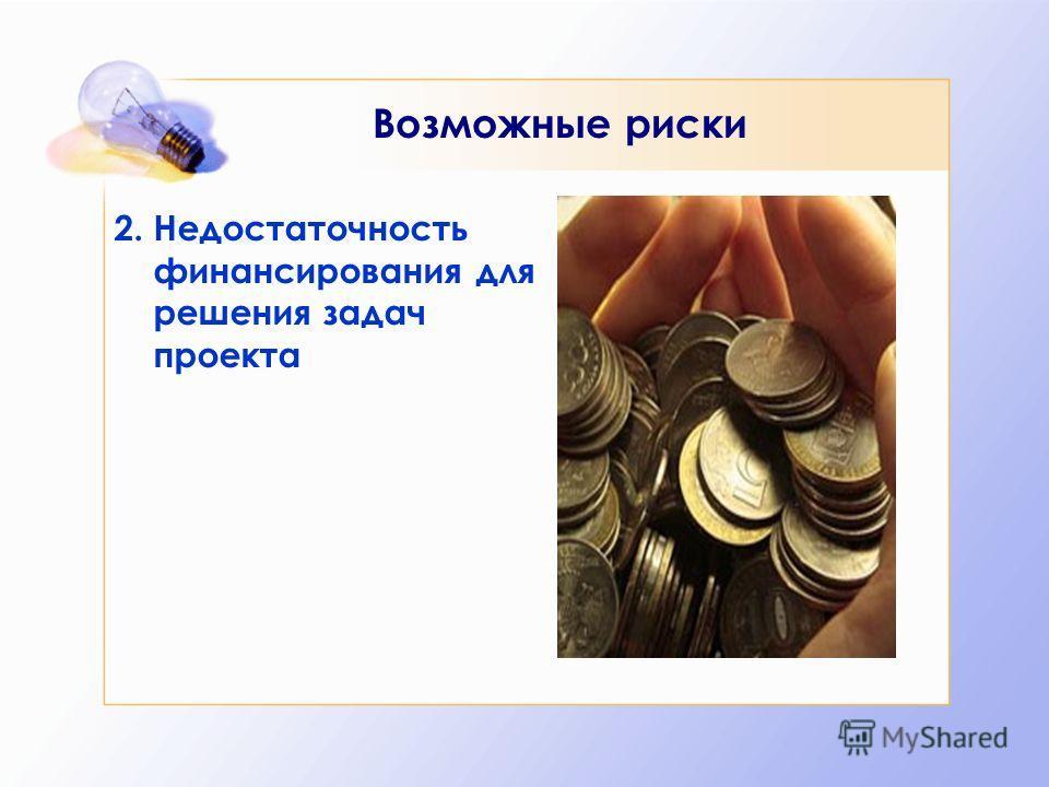 Возможные риски 2. Недостаточность финансирования для решения задач проекта