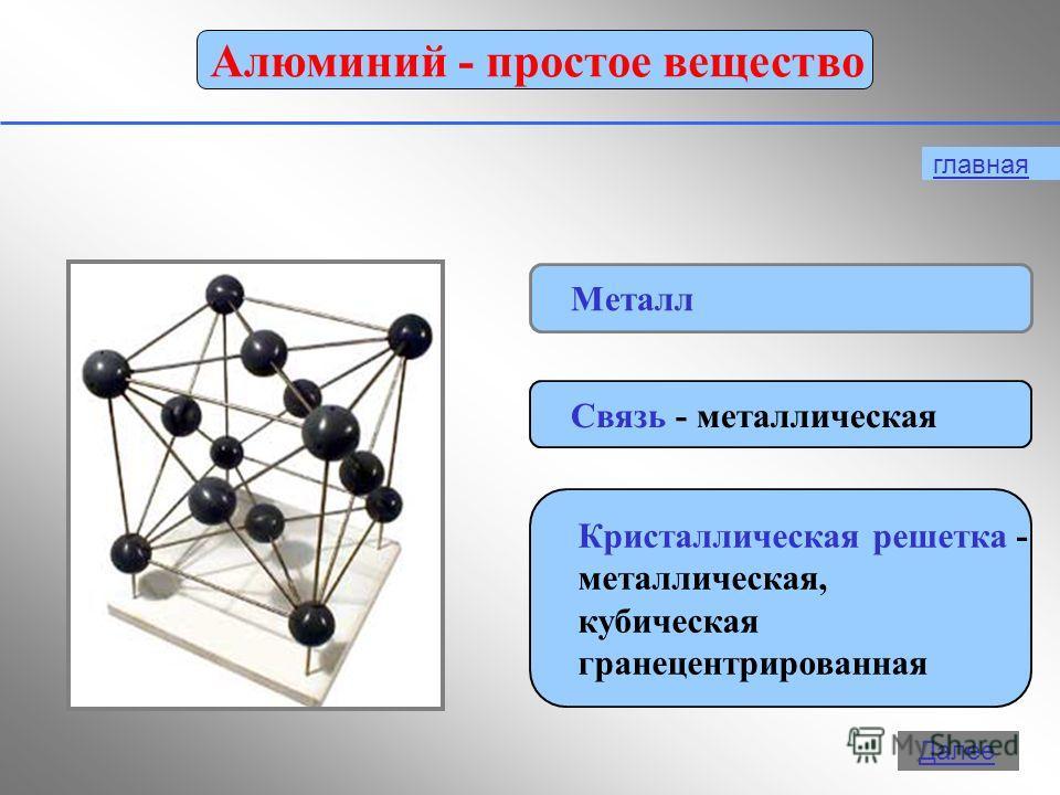11 Алюминий - простое вещество Металл Связь - металлическая Кристаллическая решетка - металлическая, кубическая гранецентрированная главная Далее