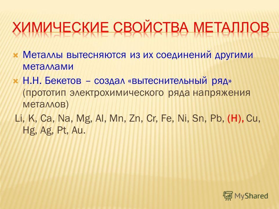 Металлы в химических реакциях являются восстановителями, при этом они окисляются M o – ne =M n+ Al, Be, Mg, Ca, Li, Na, K, Rb, Cs Восстановительная способность возрастает