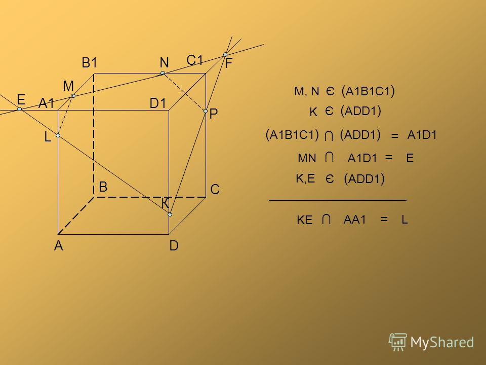 В В1 А А1 С С1 D D1D1 N К М P F E L ( A1B1C1 ) Є M, N ( ADD1 ) Є K ( A1B1C1 ) ( ADD1 ) = A1D1 = A1D1 MNE Є ( ADD1 ) K,EK,E = KE AA1L