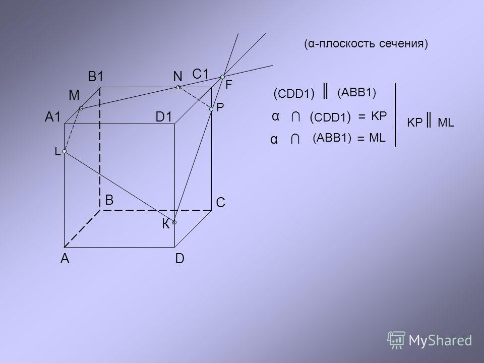 М В В1 А А1 С С1 D D1D1 N К F P L (α-плоскость сечения) ( CDD1 ) (ABB1) α (ABB1) = ML α ( CDD1 )= KP KPML