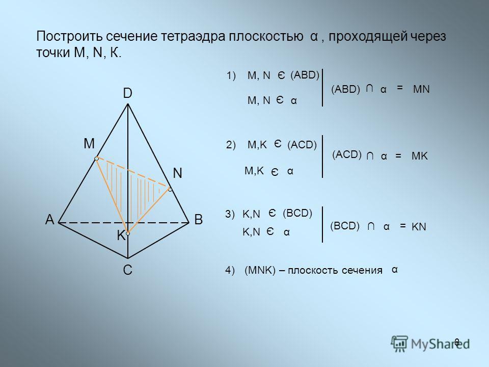 АВ С D M N Построить сечение тетраэдра плоскостью, проходящей через точки М, N, К. α 1)M, N Є (ABD) Є M, Nα = (ABD) αMN M,KM,K Є α 2)M,KM,K Є (АСD) K α=MK 3) Є (BCD) K,NK,N K,NK,N Є α = α (BCD) KN 4)4)(MNK) – плоскость сечения α 8