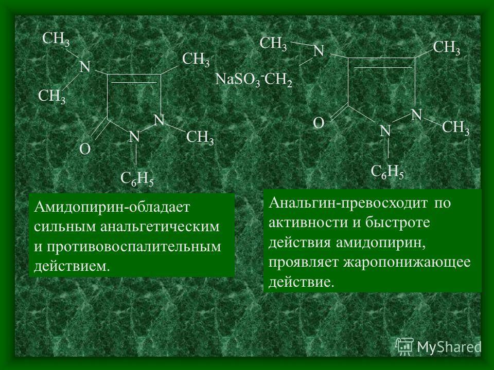 О N N СН 3 С6Н5С6Н5 N Амидопирин-обладает сильным анальгетическим и противовоспалительным действием. N N СН 3 N NaSO 3 - CH 2 О С6Н5С6Н5 Анальгин-превосходит по активности и быстроте действия амидопирин, проявляет жаропонижающее действие.